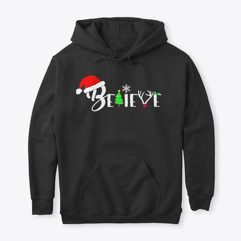 Believe Women Christmas Tree Cute Cozy Black T-Shirt Front