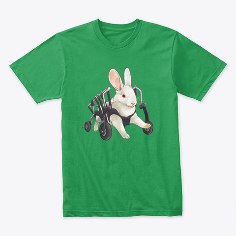 Gordon The Bunny In His Wheelchair Kelly Green T-Shirt Front