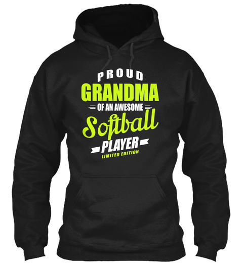Proud Grandma Of An Awesome Softball Player Limited Edition Black áo T-Shirt Front