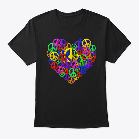 Peace Is Love   Heart Together Life Black T-Shirt Front