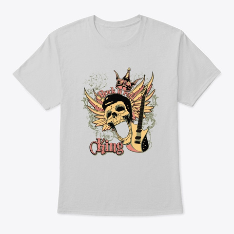 Rock N Roll King   Awesome Rock Lover Gi Light Steel T-Shirt Front
