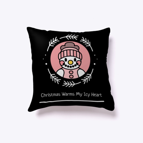 Christmas Warms My Icy Heart Black T-Shirt Front