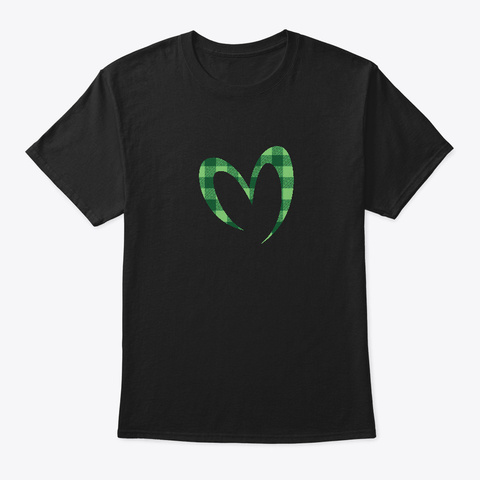 Buffalo Plaid Green Love M For Mother Black T-Shirt Front