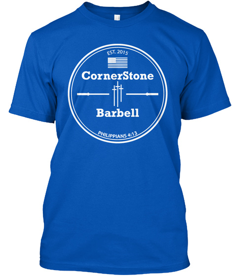 Est. 2015 Corner Stone Barbell Philippians 4:13 Royal T-Shirt Front