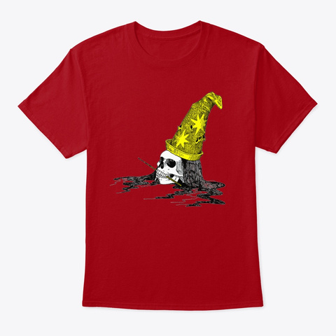 Wizard Skull Deep Red T-Shirt Front