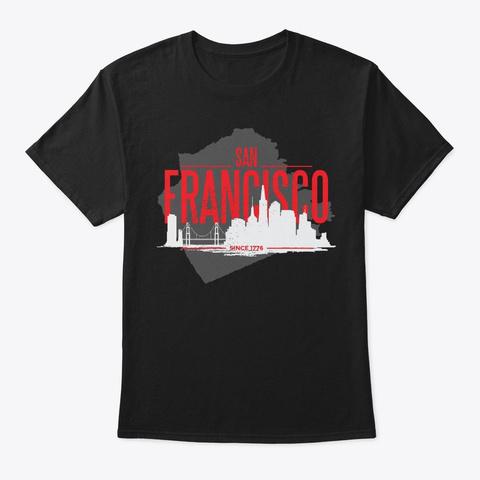 Skyscraper San Francisco American Gift Black T-Shirt Front