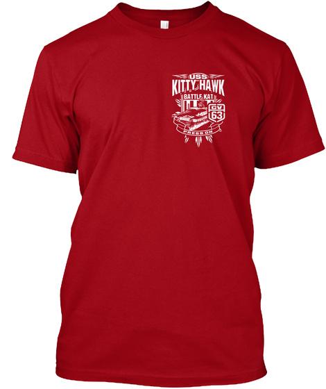 Uss Kitty Hawk Battle Kat Cv 63 Deep Red T-Shirt Front