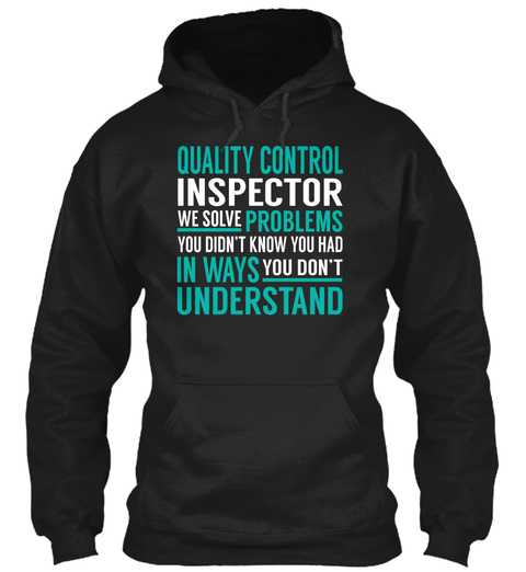 Quality Control Inspector Black T-Shirt Front