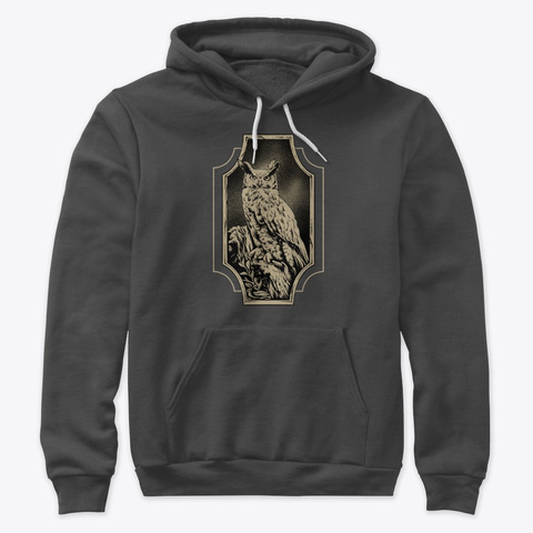 Great Horned Owl Dark Grey Heather T-Shirt Front