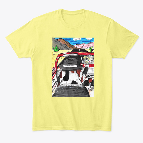 Bad To The Bone. Dog Art Unisex T! Lemon Yellow  T-Shirt Front