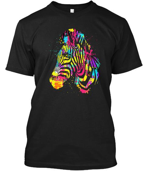 Zebra Art T Shirt Black T-Shirt Front