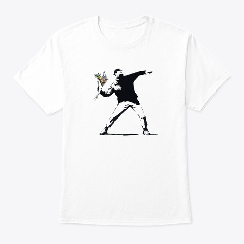 Flower Man   Banksy White T-Shirt Front