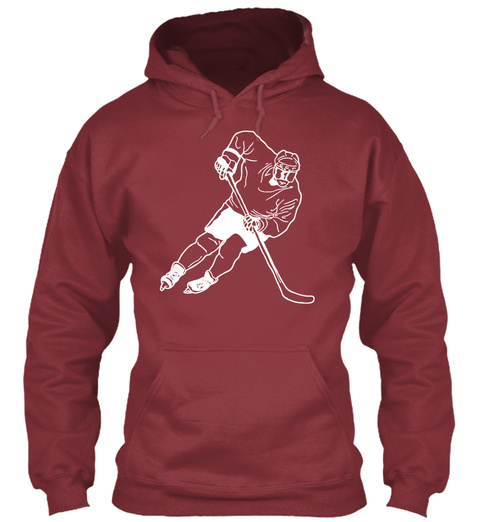 Hoodie Hockey Player Sports Maroon T-Shirt Front