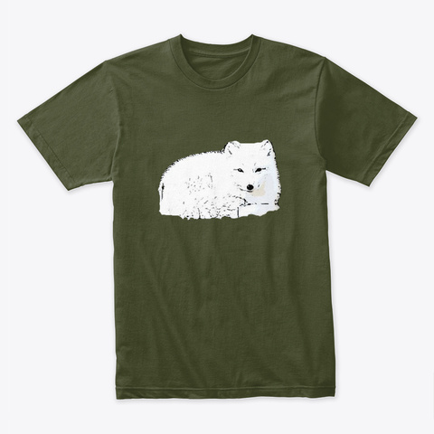 Snow Wolf Pup Military Green T-Shirt Front
