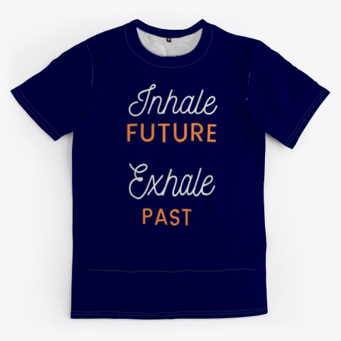 Yoga ,Inhale & Exhale,Fun Dark Navy T-Shirt Front