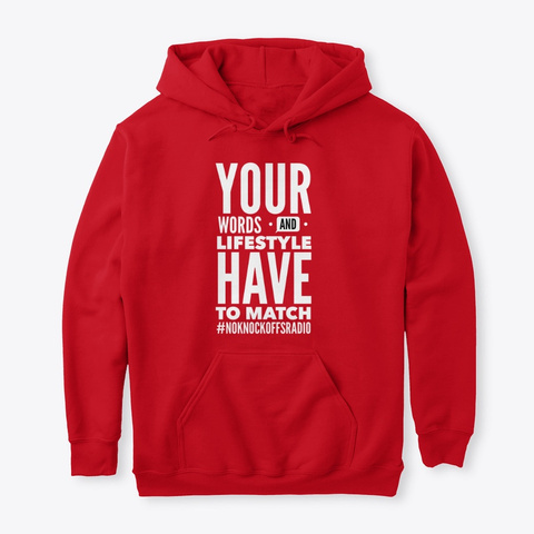 Words And Lifestyle Hoodie Red T-Shirt Front
