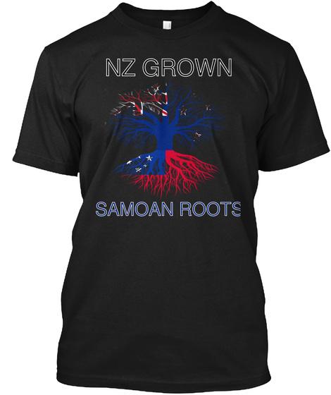 Nz  Grown Samoan Roots Black T-Shirt Front