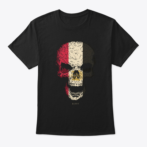 Skull Egypt Flag Skeleton Black T-Shirt Front