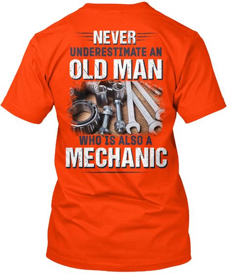 Awesome Mechanic Shirt Orange T-Shirt Back