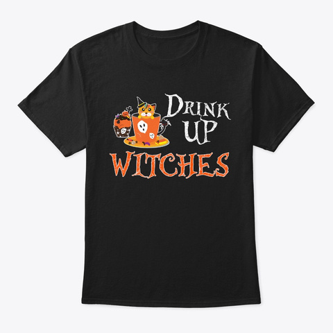 Resting Witch Witchcraft Broom Halloween Black T-Shirt Front