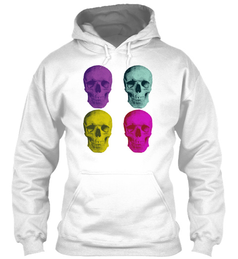 Pop Art Skulls White T-Shirt Front
