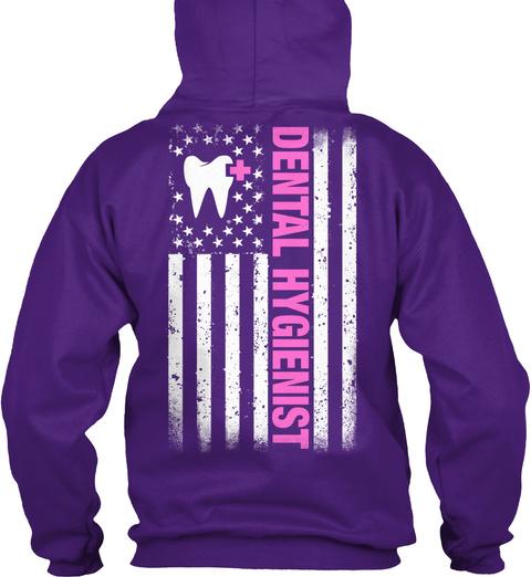 Dental Hygienist Flag Purple T-Shirt Back
