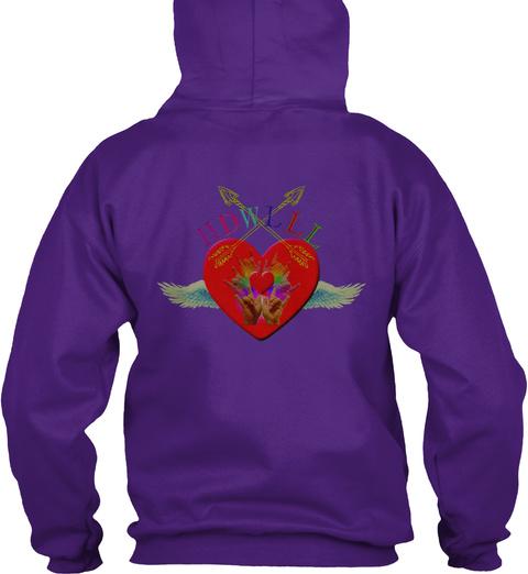 Heart Of Deaf Women Live Laugh Love Purple T-Shirt Back