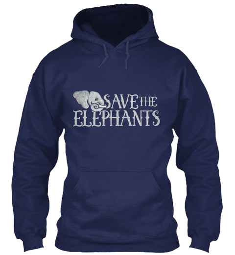 Save The Elephants Navy Sweatshirt Front