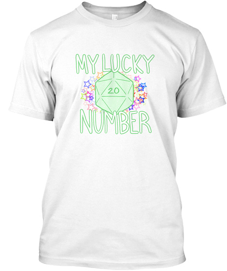 D20 My Lucky Number   Green White T-Shirt Front