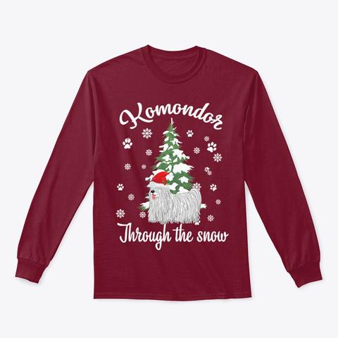 Komondor Through The Snow Christmas Cardinal Red T-Shirt Front