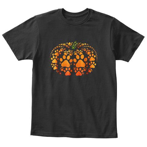 Paw Print Pumpkin Halloween Tshirt Black T-Shirt Front