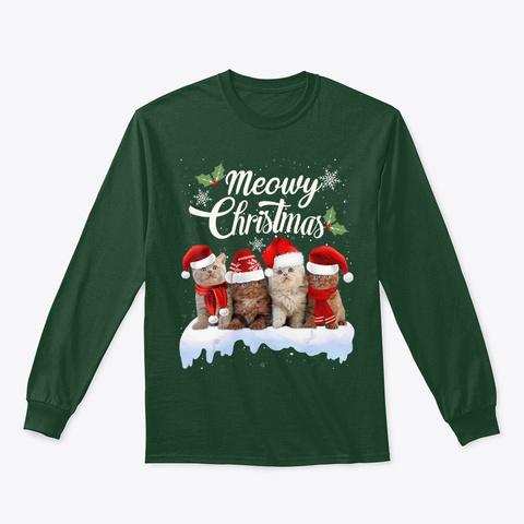 Kitten Cat Kitty Xmas Cute Gift T Shirt Forest Green T-Shirt Front