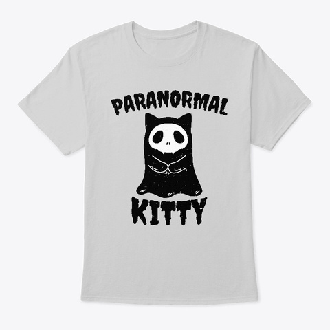 Paranormal Kitty Funny Ghost Cat Light Steel T-Shirt Front