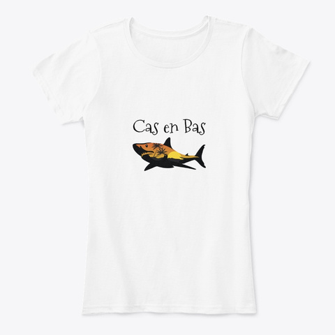 Cas En Bas St. Lucia Shark White T-Shirt Front