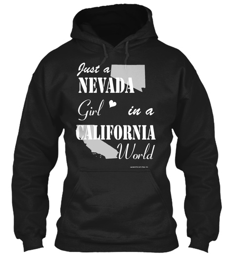 Nevada Girl In A California Black T-Shirt Front