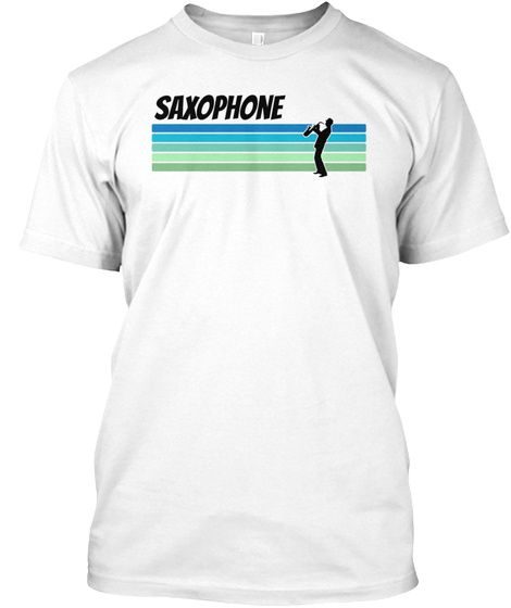 Retro Saxophone White T-Shirt Front