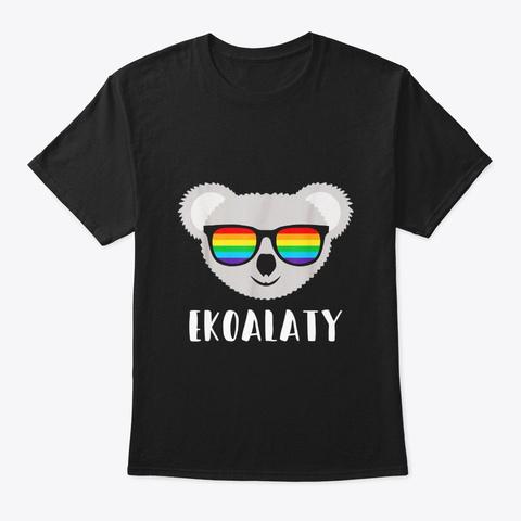 Gay Pride Flag Koala Ekoalaty T Shirt Black T-Shirt Front
