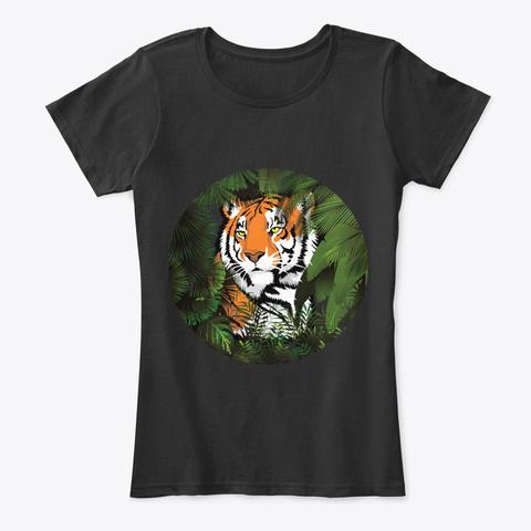 Tiger  Pflanzen Design Black T-Shirt Front