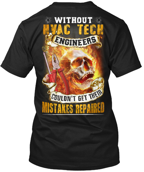 Awesome Hvac Tech Black T-Shirt Back