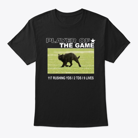 Player Of The Game Black Cat Shirt Black T-Shirt Front