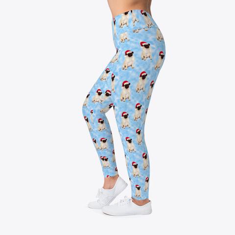 Pug Pattern Christmas Holidays Leggings Standard T-Shirt Left