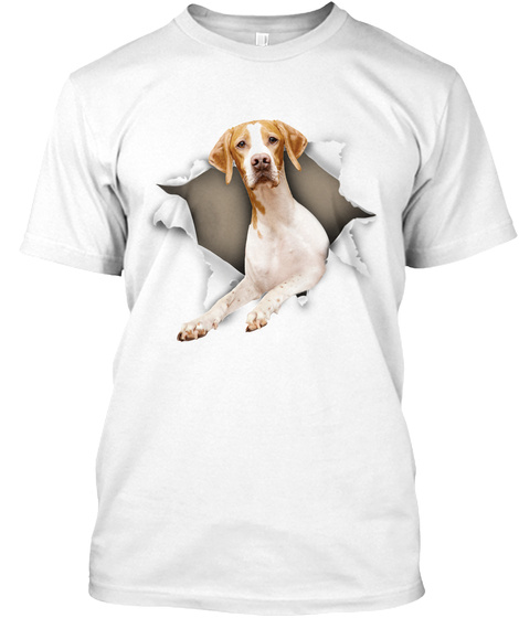 English Pointer Torn Paper White T-Shirt Front