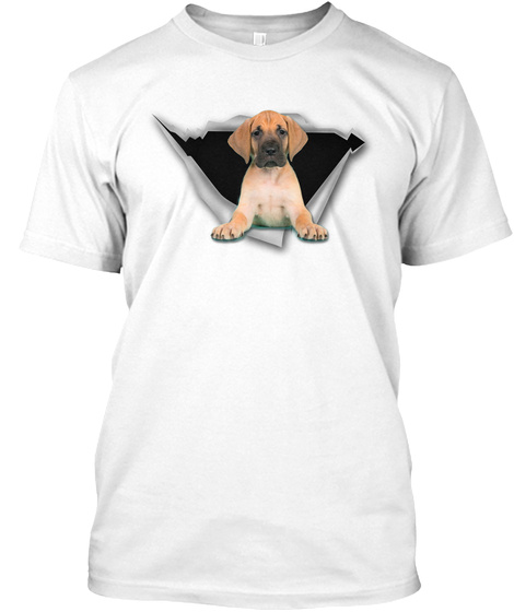 Torn   Yellow Great Dane White T-Shirt Front