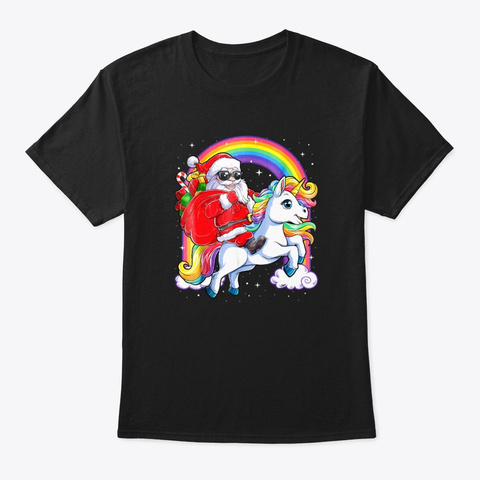 Funny Santa Riding Dinosaur Christmas  Black T-Shirt Front