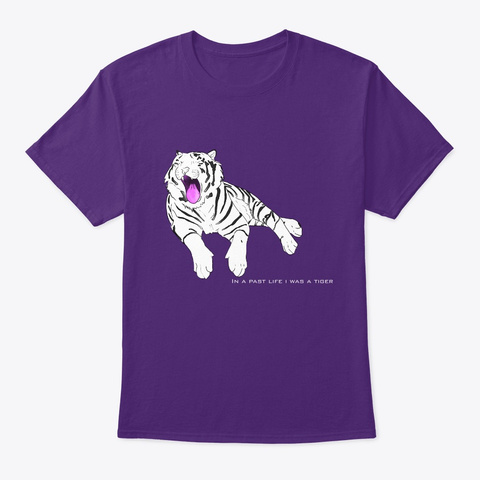 White Tiger  Purple T-Shirt Front