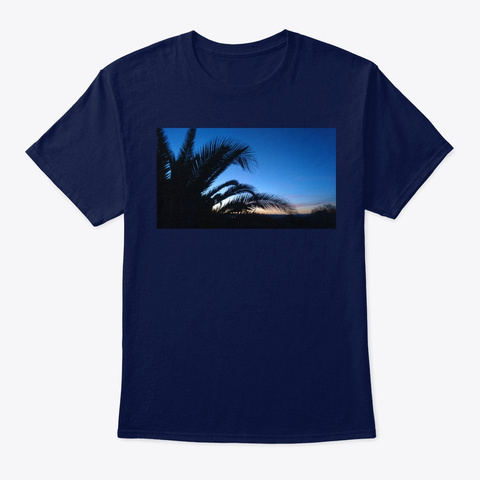 Blue Palm Navy T-Shirt Front