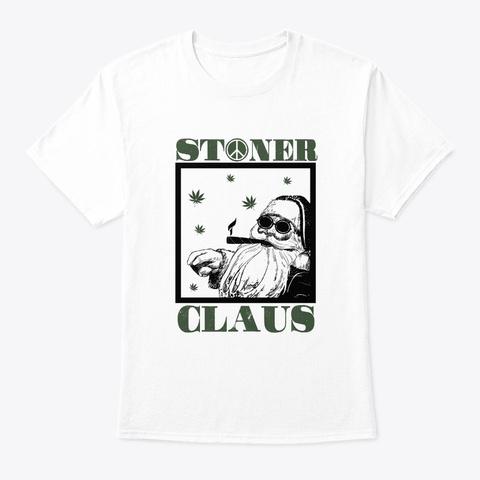 Santa Marijuana Weed Snowman Funny White T-Shirt Front