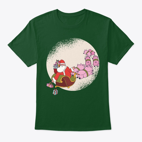 Christmas Holiday Pig Santa Sleigh Deep Forest T-Shirt Front