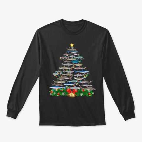 Shark Christmas Tree Shirt Shark Lovers Black T-Shirt Front
