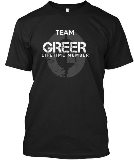 Team Greer Lifetime Member Black T-Shirt Front